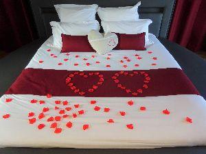 pétales de roses lit rond gite romantique